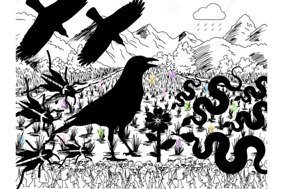 Illustration of a silhouette of birds, snakes and beetles in a field