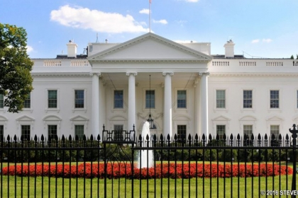 Exterior of the White House and lawn
